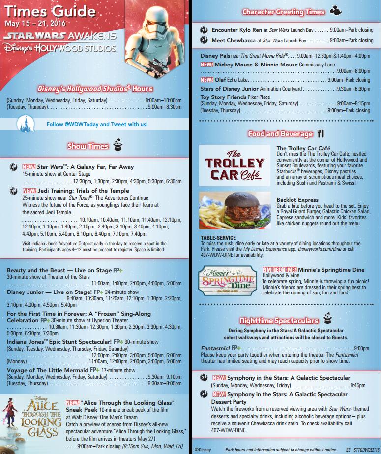 magic kingdom times guide 2016